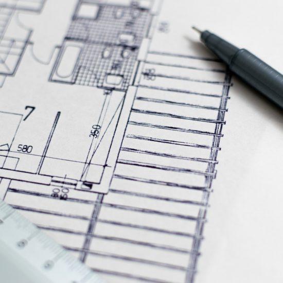 Planung von Badezimmern: technische Zeichnung