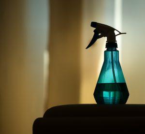 Glasduschen reinigen: Sprühflasche mit Reinigungsmittel