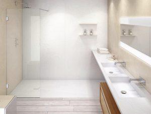 Grosse fugenlose Duschpaneele: eine gute Art, dem Schimmel im Bad vorzubeugen.