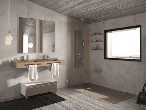 Badezimmer in Naturfarben mit bodenebener Duschtasse.