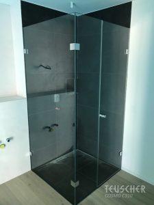 Geschlossene Dusche in anderer Farbe als das restliche Badezimmer.