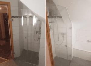 Dusche unter Dachschräge, an Ecken und Kanten angepasst.