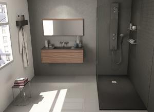 Farbgestaltung im Badezimmer: Grautöne sind modern.