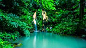 Ein besonders schöner Wasserfall mit Thermalbad: Caldeira Velha auf den Azoren.
